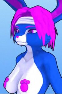 A blue rabbit woman with pink hair and large breasts.