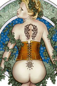 A pale blond woman with a shapely bare butt in an orange corset with tattoos.