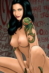 A nude woman squats, with a large elder god tattoo on her shoulder.