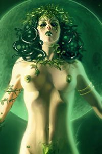 A nude green woman stands with arms wide open.