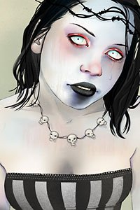 A chalk-pale woman with black hair, ghostly-white eyes and charcoal lips.