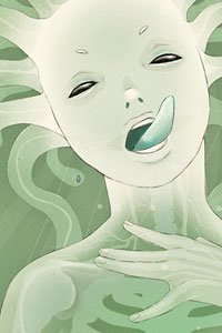 A translucent sea creature seductively extends her tongue.