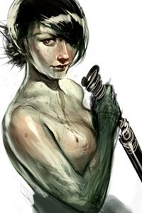 A pale naked woman squeezes her breasts with her dagger arm drawn tight to her chest.