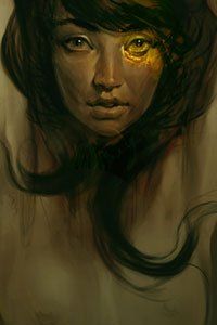 A murkily lit woman with dark, wavy hair descends further into the depths.