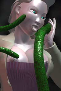 A pale woman wearing a long coat and corset caresses a slimy green tentacle.