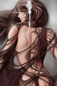 A lithe woman with long brown hair and an elaborate tattoo stands in a tattered cloak.