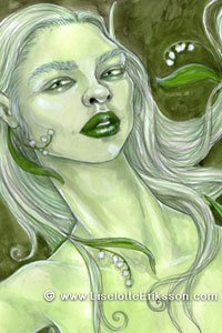 A slender green woman with long white hair.