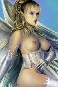 A lovely blond woman with perky breasts and large white wings.