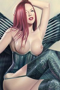 A redhead in a black corset and stockings with large metal wings.