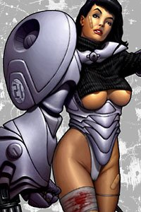 A mechanized beauty with large partially-exposed breasts and a bandaged leg.