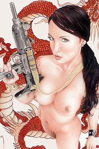 A beautiful naked woman stands defiantly with a machine gun, a long red oriental dragon behind her.