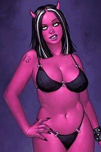 An irate, curvy demon woman in a black bikini