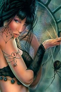 A woman with black hair dangles a large spider from a web strand.