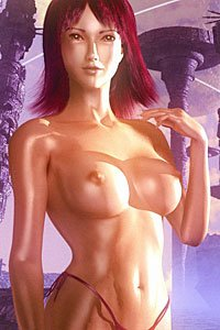 A shiny bare-breasted woman poses in front of an alien cityscape.