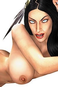 Half vampire Tala from Darkwatch lays naked for Playboy.