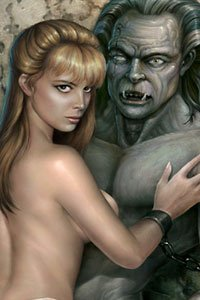 A naked blond woman presses up against a large stone gargoyle.