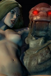 A fearsome robot carries a mildly concerned nude woman.