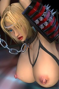 A big-breasted fantasy warrior woman is chained and helpless.