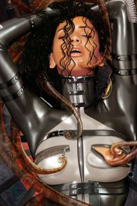 A sweaty dark-haired woman in a latex bodysuit is enjoying a ticklish tentacle.