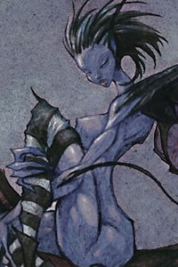 A naked blue fairy with stockings and crazy hair.