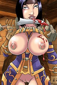 A human rouge from World of Warcraft with large naked breasts.