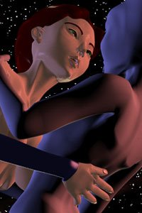 A naked Japanese woman embraces a strange blue alien woman in space.