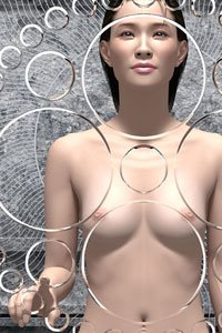 A nude woman with dark hair and pale skin touches an elaborate sculpture.