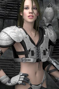A slim woman partially dressed in battle armor stands.