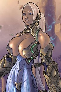 A blond woman with tremendous breasts and futuristic armor stands at the ready.
