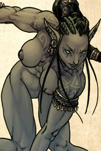 A nude dark-skinned elf woman crouches as she wields her weapon.
