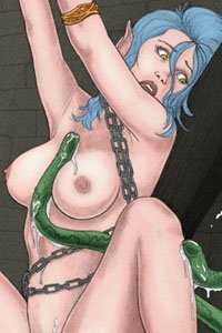 A blue-haired elf woman bound in chains is caressed by several long green tentacles.
