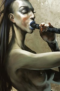 A slender naked woman blows an elaborate horn.