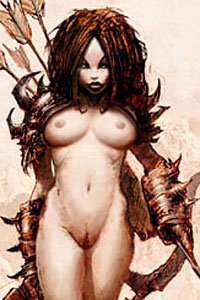 A curvy nude woman wearing spiked armor, wielding a large bow.