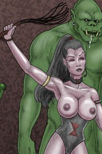 A dark elf woman with large exposed breasts raises her whip while a large unclothed orc drools lecherously behind her