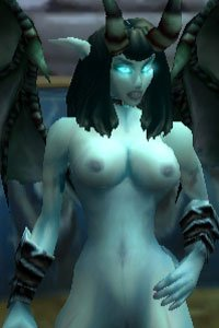 A Warcraft demon female with naked blue skin.